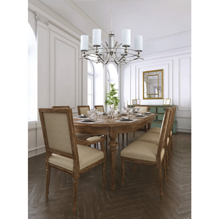 dining room chandelier RUTA 6 light in brushed nickel with shades