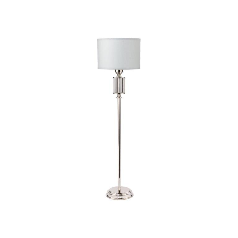Lighting room ARTU brass standing lamp in nickel with white shade