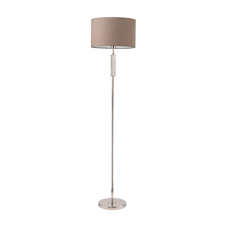 Lighting room ARTU brass floor lamp in nickel glass, white shade