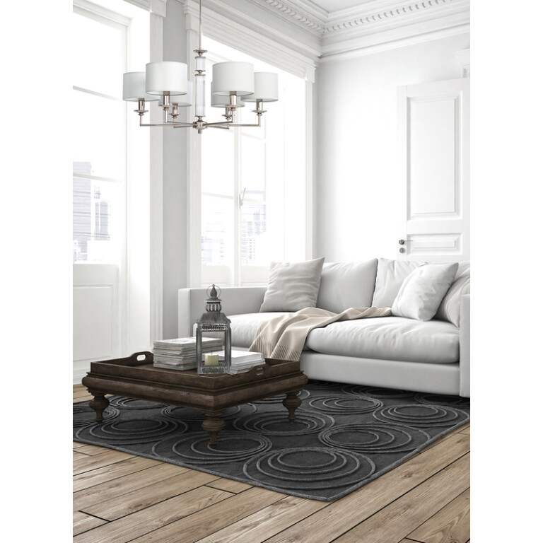 Brass achandelier with white shade inspiration for living room