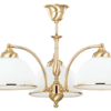 Gold Luxury Chandelier 3 Arms VITO in Classic Design with white glass shades