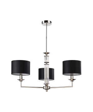 Lighting room ARTU 3 light black shade chandelier in nickel
