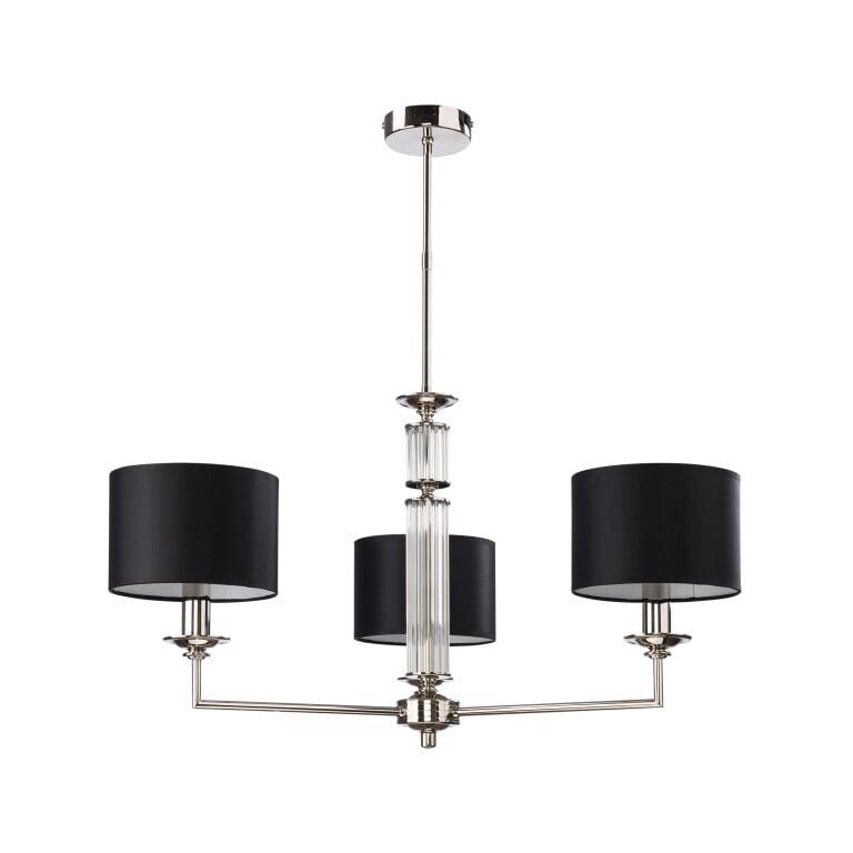 Lighting room ARTU 3 light black shade chandelier in nickel