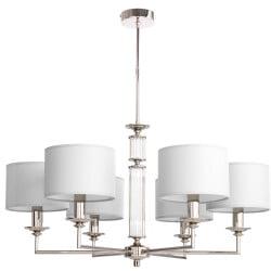 Lighting room ARTU 6 light modern silver chandelier with white shades