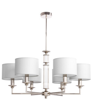 Lighting room ARTU 6 light modern silver chandelier with white shades