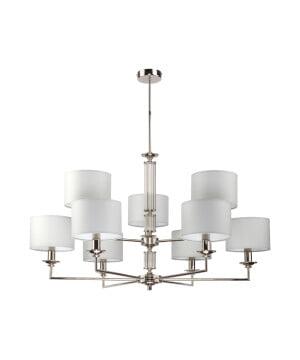 Lighting room ARTU 9 light two tier pendant chandelier in nickel finish