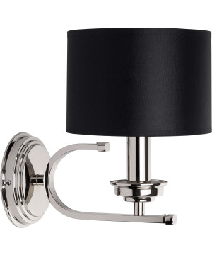 Lighting room BOLT wall light brass in nickel with black shade