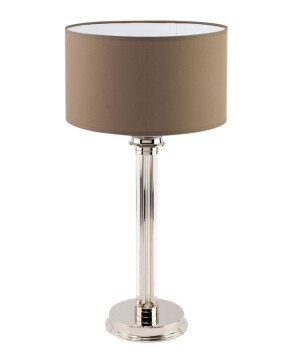 Lighting room BOLT bedside table lamp in polished nickel, brown shade