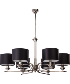 Lighting room BOLT 6 light brass chandelier in nickel with black shades