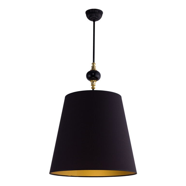 Narni Brass Ceiling Pendant Light Black Lampshade