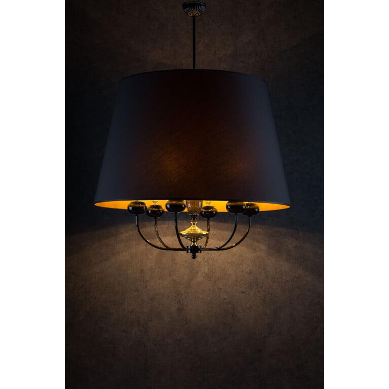 Narni 6 Lights Brass Ceiling Pendant Lights Fabric Lampshade