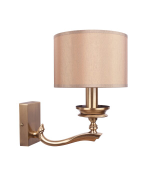 Tivoli Brass Wall Light Fabric Lampshade Wall Sconce Light