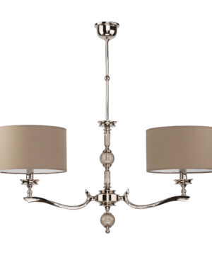 Tivoli Brass Chandelier 2 Arms Fabric Lampshades Glass Pendant Light