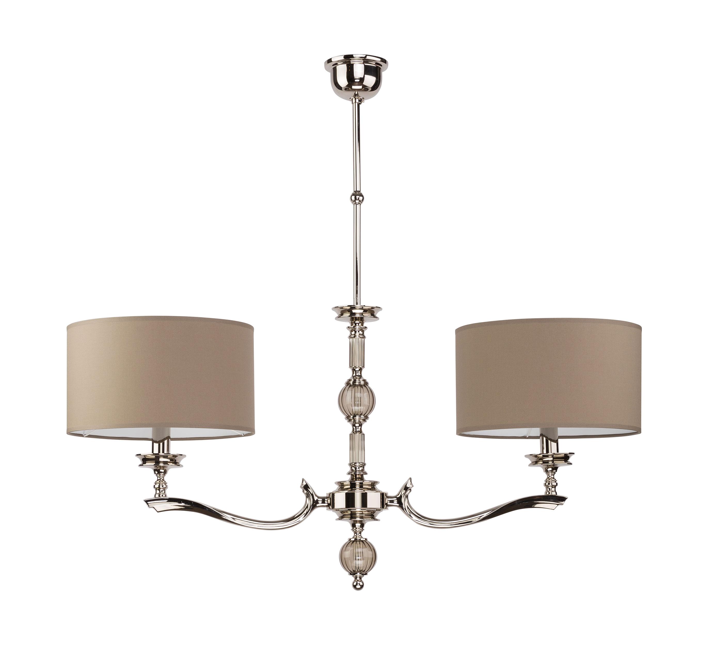 Tivoli Brass Chandelier 2 Arms Fabric Lampshades Glass Pendant Light