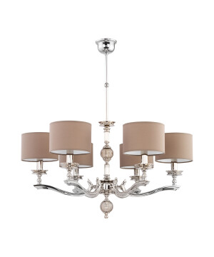Tivoli Brass Chandelier 6 Arms Glass Ceiling Pendant Light