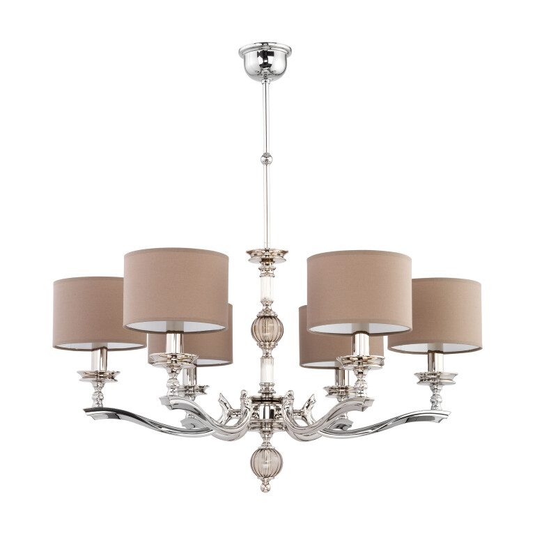 traditional chandelier tivoli 6 arms in nickel finish with brown shades