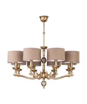 Classic luxury chandelier TIVOLI 8 light in brushed brass I brown shades