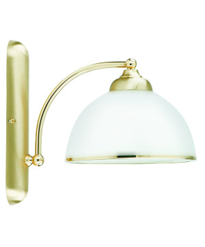 VITO Brass Wall Light White Glass Shade with Gold