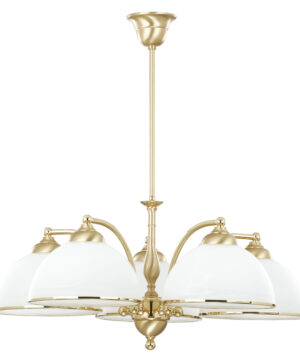 VITO Brass Luxury Chandelier 5 Arms White Glass Shade Classic Pendant 5 Light