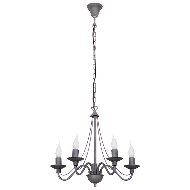 Candle style Chandelier 5 arms ROSE antique style in grey