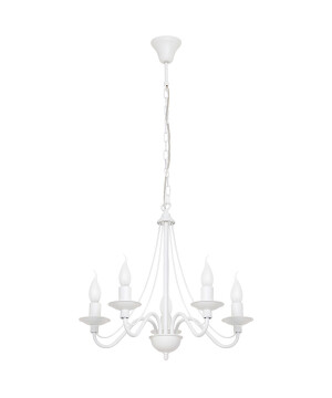 White Chandelier 5 arms ROSE in antique style