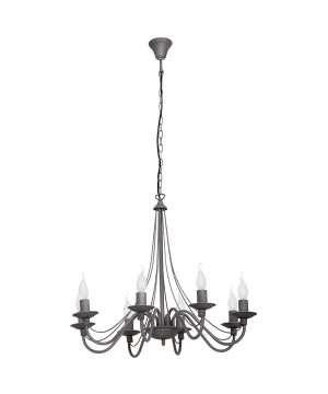 Antique Chandelier 8 arms ROSE with candle holders in grey