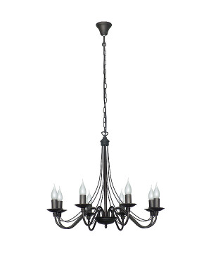 Black Antique Chandelier 8 arms ROSE with candle holders