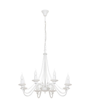 Antique Chandelier 8 arms ROSE in white with candle holders