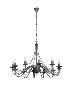Grey Chandelier 12 arms ROSE with candle holders in antique style