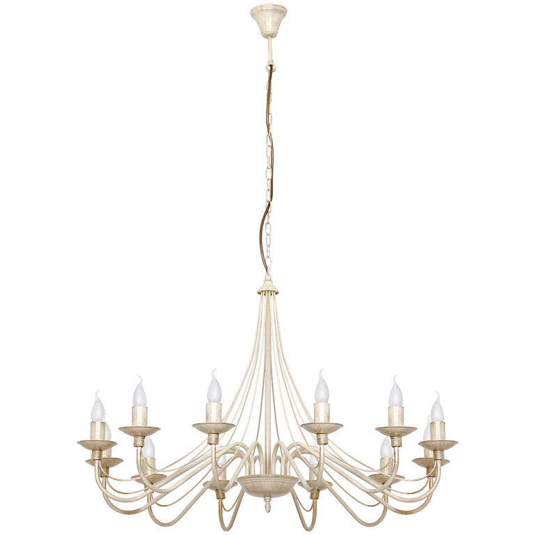 Shabby chic Chandelier 12 arms ROSE with candle holders in antique white