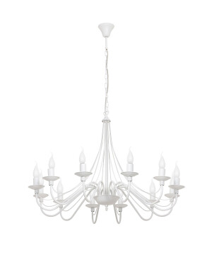 Classic antique Chandelier 12 arms ROSE with candle holders in white