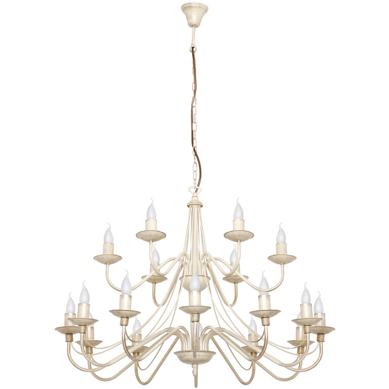 Rustic Chandelier 18 arms ROSE with double tier in antique white
