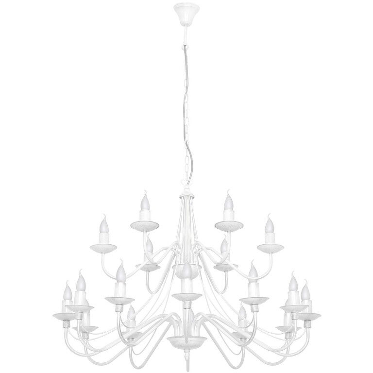 Antique Chandelier 18 arms ROSE with double tier in white candle style