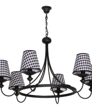 GUARDA 6 Arms Chandelier Black White Fabric Lamp Shades