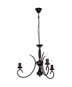 ATUT Rustic Black Chandelier 3 Arms - Finish Black