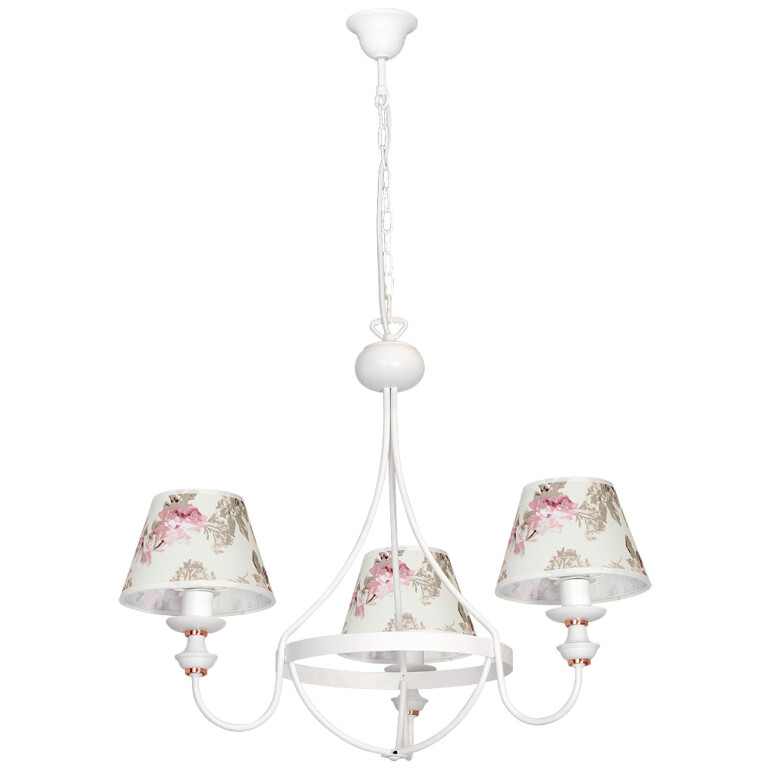 Amon White French Style Chandelier 3 Arms Fabric Lamp Shades