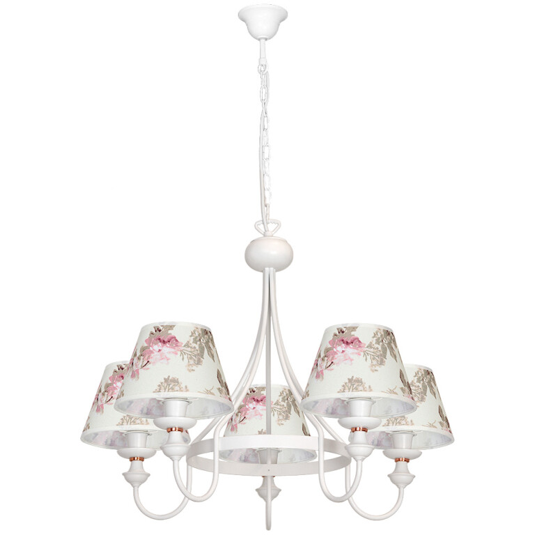 Amon White Chandelier 5 Arms Fabric Lamp Shades