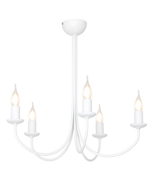 Traditional Rustic Chandelier 5 Arms FEB in white with candle style lights