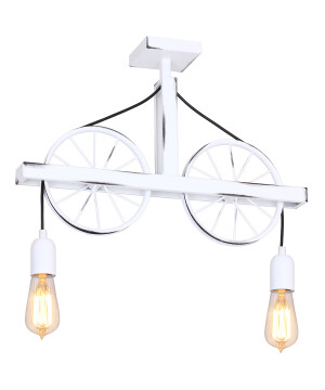 Designer Pendant 2 Lights BANG MIN polished brass wheels in vintage style