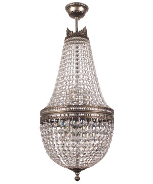 Bespoke lighting AREZZO Crystals Beaded Chandelier in nickel with crystals