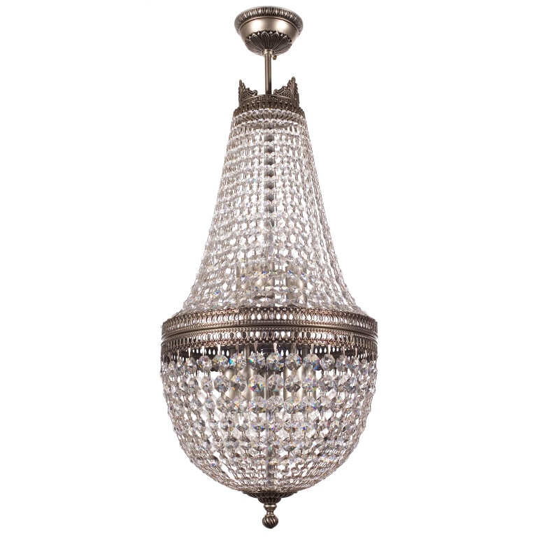 Bespoke lighting AREZZO Crystals Beaded Chandelier in nickel with crystals