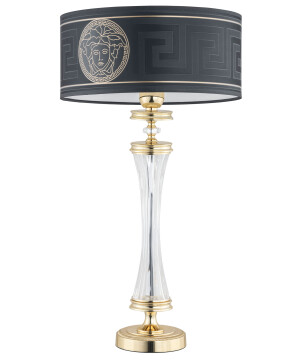 Gold table lamp AVERNO with Versace shade and glass
