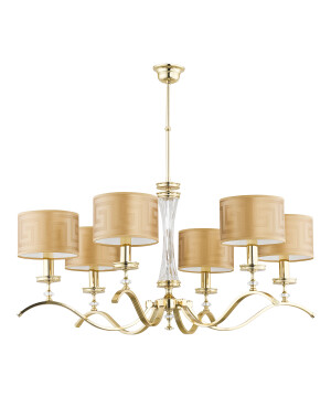 traditional gold chandelier AVERNO 6 light with Versace shade