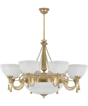 glass chandelier gold ROMA 11 light in brushed brass, Provence style