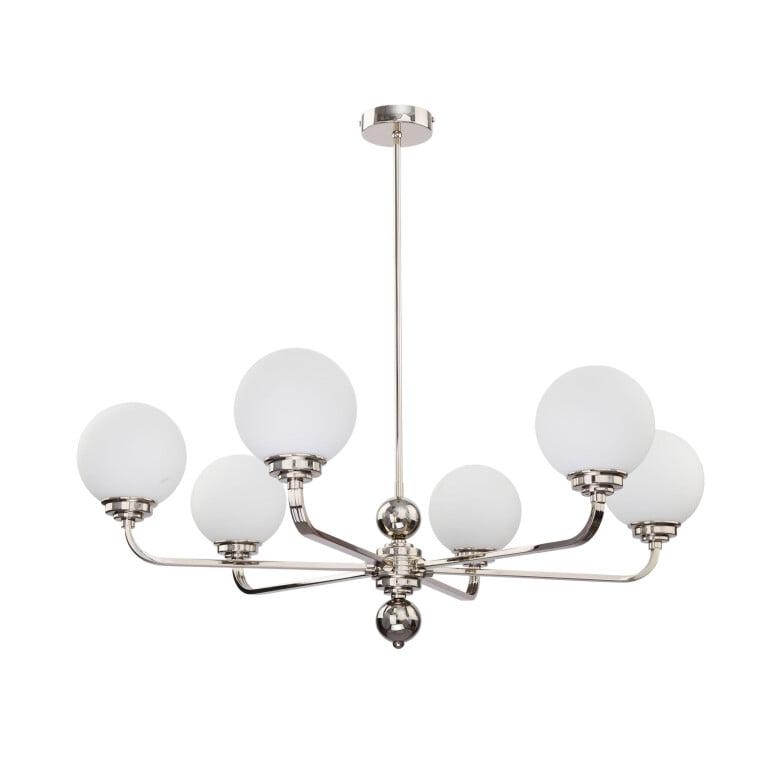 Lighting room ABANO 6 light nickel chandelier with glass shades