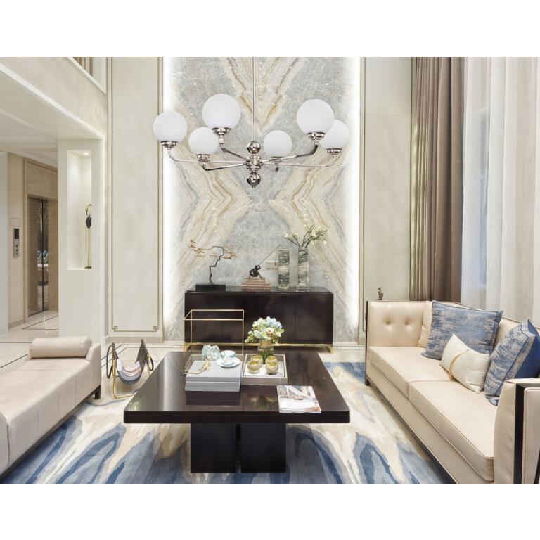 Modern Chandelier ABANO brass with nickel finishes and glass shades