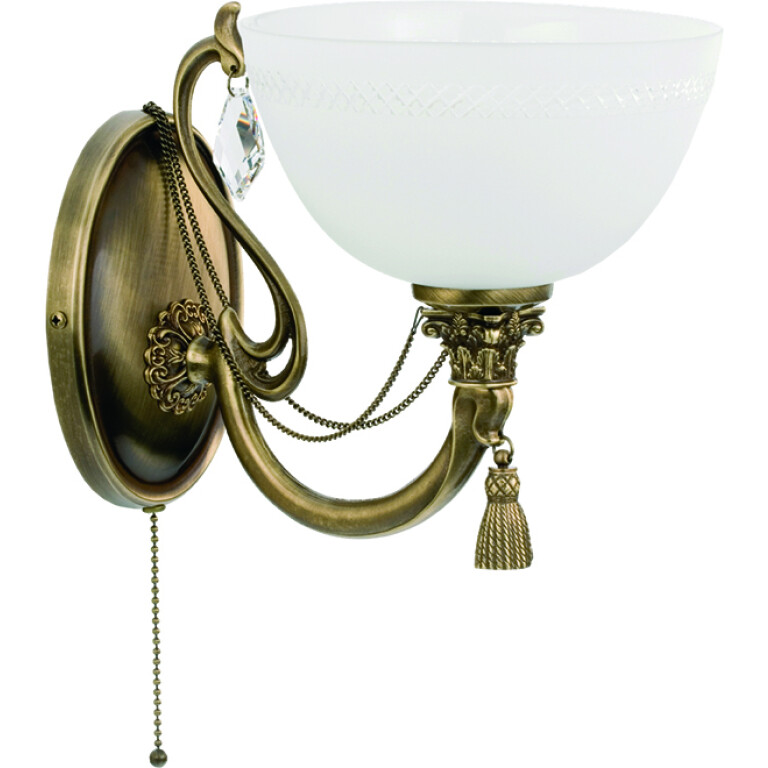 roma patina brass sculpture rich wall light glass shade swarovski crystals wall sconce fitting