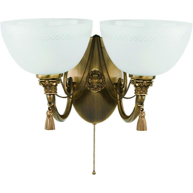 roma patina brass sculpture double wall light glass shade wall sconce light swarovski crystals