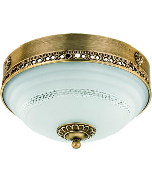 roma patina brass flush ceiling 3 light white glass shade with swarovski crystals