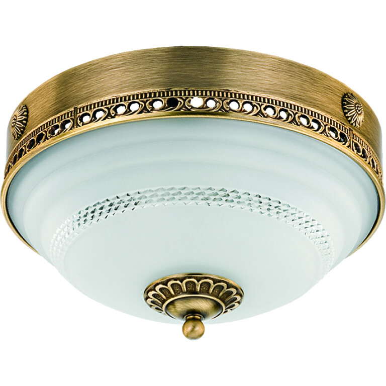 roma patina brass flush ceiling 3 light white glass shade with swarovski crystals